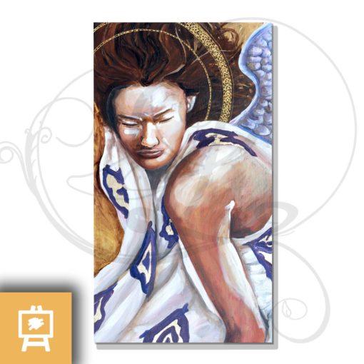 peinture-ange-revelation-delanssays-legendart-or