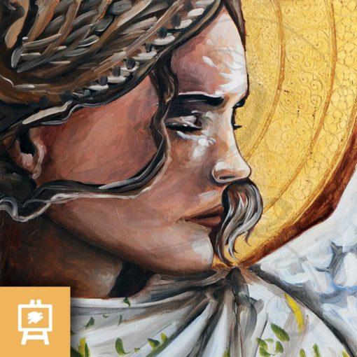 peinture-ange-silence-delanssays-legendart-or